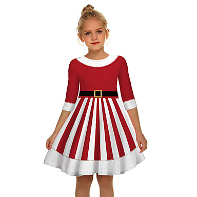 cheap Kids' New Arrivals-Kids Girls' Active Sweet Santa Claus Christmas Half Sleeve Above Knee Dress Red