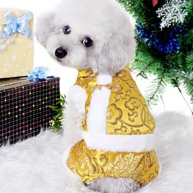 povoljno Odjeća za psa i dodaci-Psi Mačke Ljubimci Kaputi Izgledi Zakó Zima Odjeća za psa Crn Bijela Crvena Kostim Polyster Print Etnikai Novogodišnji XS S M L XL