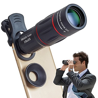 cheap Cellphone Camera Attachments-Cell Phone Lens Universal 18X Optical Zoom Lens Manual Telescope Lens with Clamp for iPhone Samsung and Most Android Smartphonesby Leaysoo