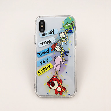 voordelige iPhone 6 Plus hoesjes-hoesje Voor Apple iPhone XS / iPhone XR / iPhone XS Max Ultradun / Transparant / Patroon Achterkant Transparant / Cartoon TPU