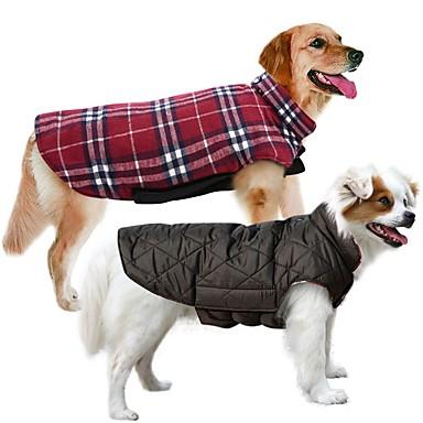 رخيصةأون ملابس وإكسسوارات الكلاب-كلب المعاطف سترة الشتاء ملابس الكلاب قابل للعكس بني أخضر أحمر كوستيوم قطن Plaid / Check الدفء قابل للعكس XS S M L XL XXL