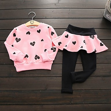 cheap Kids' New Arrivals-Kids Girls' Active Print Long Sleeve Cotton Clothing Set Blushing Pink