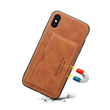 voordelige iPhone-hoesjes-hoesje Voor Apple iPhone 11 / iPhone 11 Pro / iPhone 11 Pro Max Kaarthouder Achterkant Effen PU-nahka