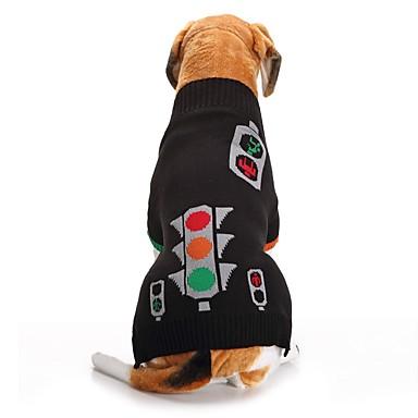 رخيصةأون ملابس وإكسسوارات الكلاب-كلاب البلوزات الشتاء ملابس الكلاب أسود كوستيوم فصيل كورجي كلب صيد شبعا اينو الاكريليك وألياف هندسي كاجوال / يومي XS S M L XL XXL