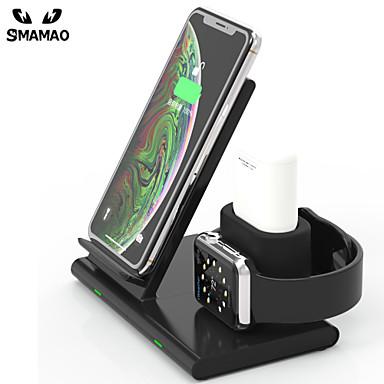 رخيصةأون Smartwatch كابلات وشواحن-لوحة شحن لاسلكية 3 في 1 لشاحن لاسلكي سريع للوقوف على حامل أيربودس / آيفون 11/11 للمحترفين / xr / xs / 8/8 زائد وسلسلة من سامسونج وهواوي وأبل