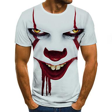 저렴한 남성 티셔츠&탱크 탑-남성용 기하학 / 3D / 초상화 라운드 넥 플러스 사이즈 주름장식 / 프린트 - 티셔츠, 스트리트 쉬크 / 과장된 화이트 / 짧은 소매
