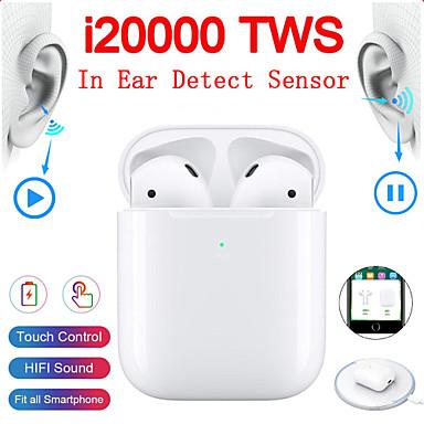 ieftine Căști-i20000 tws adevărate căști wireless detectare în ureche control robinet qi încărcare wireless detectare automată a urechii și pauză pop-up bluetooth 5.0 super bass căști