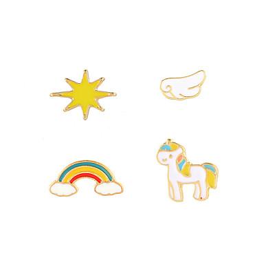 رخيصةأون أقراط-نسائي أقراط الزر حلقات مجموعة أقراط غير متطابقة حصان قوس قزح شائع الكورية حلو موضة لطيف الأقراط مجوهرات أبيض / أزرق / زهري من أجل / 4PCS