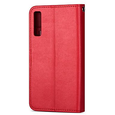 voordelige Galaxy A-serie hoesjes / covers-hoesje Voor Samsung Galaxy A8 2018 / Samsung Galaxy A20 (2019) / Samsung Galaxy A70 (2019) Kaarthouder Volledig hoesje Effen / Tegel PU-nahka