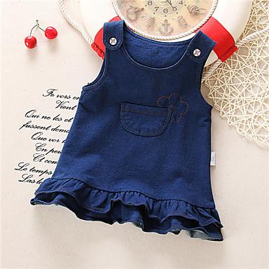 رخيصةأون ملابس الرضع-فستان بدون كم لون سادة / طباعة أزرق للفتيات طفل