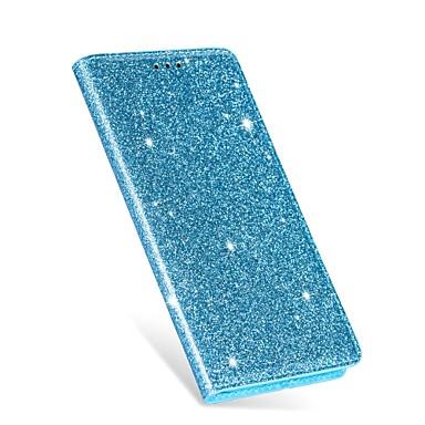 voordelige Galaxy A-serie hoesjes / covers-hoesje Voor Samsung Galaxy Galaxy A7(2018) / A8 2018 / Galaxy A50 (2019) Kaarthouder / Glitterglans Volledig hoesje Effen / Tegel PU-nahka