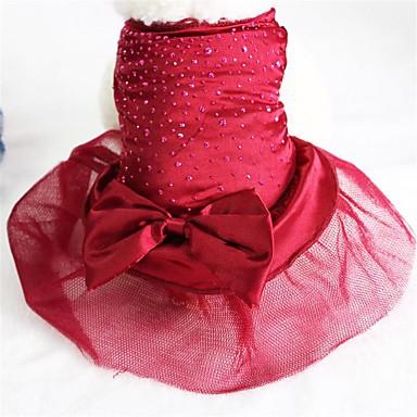 رخيصةأون ملابس وإكسسوارات الكلاب-كلب الفساتين ملابس الكلاب ذهبي أحمر أزرق كوستيوم هاسكي كلب البلدغ شبعا اينو شيفون تيريليني ببيونة عيد ميلاد الزفاف XS S M L XL