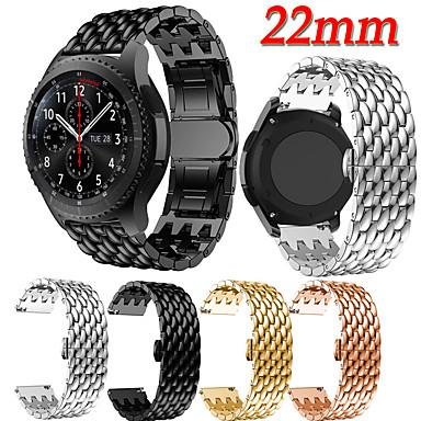 Недорогие Часы для Samsung-ремешок из нержавеющей стали с зерном дракона 22мм цепочка с пряжкой в виде бабочки стальная полоса для часов Samsung Galaxy 46mm / gear s3 frontier smart watch замена ремешок для часов