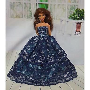 olcso Barbie baba ruházat-Party / Estélyi Ruhák mert Barbiedoll Csipke / Szatén Ruha mert Lány Doll Toy