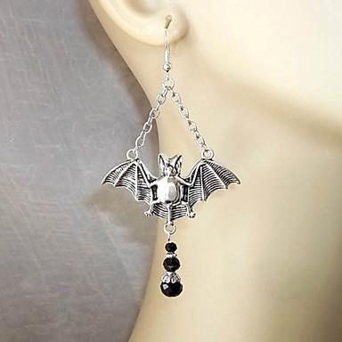 نسائي أقراط قطرة 3D خفاش الأقراط مجوهرات فضي من أجل الهالووين 1 زوج