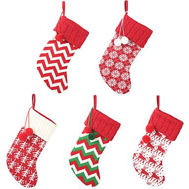 رخيصةأون تزيين المنزل-المنزل العام الجديد محبوك جوارب عيد الميلاد الغزل الأحمر والأبيض الجوارب الأيائل أكياس هدية عيد الميلاد