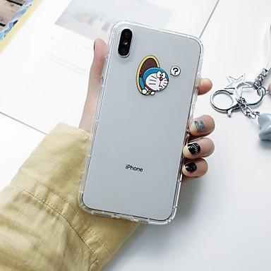 voordelige iPhone-hoesjes-hoesje Voor Apple iPhone XS / iPhone XR / iPhone XS Max Schokbestendig / Ultradun / Doorzichtig Achterkant Spelen met Apple-logo / Woord / tekst / Cartoon TPU