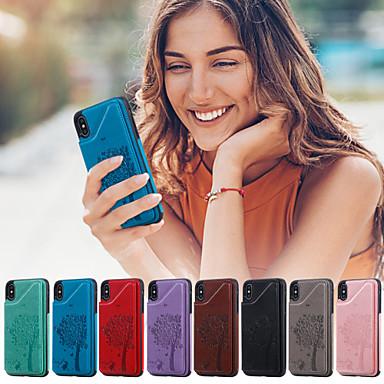 voordelige iPhone 6 hoesjes-hoesje voor apple iphone xr / iphone xs max portemonnee / kaarthouder / met standaard achterkant kat / boom pu leer voor iphone 6 / 6s / iphone 6 / 6s plus / iphone 7/8 / iphone 7/8 plus / iphone x /