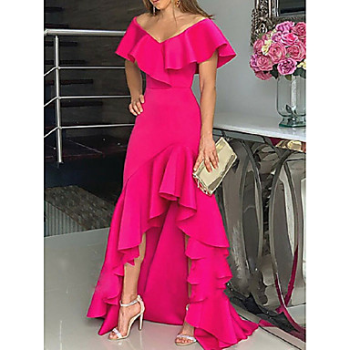 cheap Special Occasion Dresses-A-Line V Neck Asymmetrical Chiffon Formal Evening Dress with Ruffles by LAN TING Express