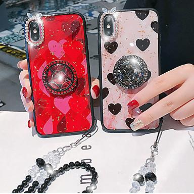 זול מגנים לאייפון-מגן עבור Apple iPhone XS / iPhone XR / iPhone XS Max ריינסטון / מחזיק טבעת כיסוי אחורי לב אקרילי