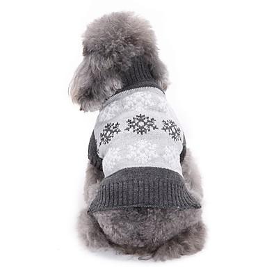 رخيصةأون ملابس وإكسسوارات الكلاب-كلاب البلوزات الشتاء ملابس الكلاب رمادي كوفي كوستيوم فصيل كورجي كلب صيد شبعا اينو الاكريليك وألياف ندفة ثلجية كاجوال / يومي أسلوب بسيط XS S M L