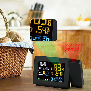 cheap Clocks-Weather Station Multi-Function Digital Clock Temperature Humidity Despertador Moon Phase Desk Table LCD Alarm Clock