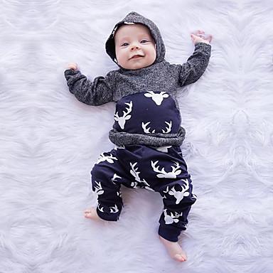 voordelige Baby Jongens kledingsets-Baby Jongens Standaard Print Patchwork Lange mouw Normaal Normaal Kledingset Grijs
