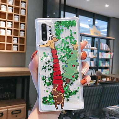 Недорогие Чехлы и кейсы для Galaxy Note-Кейс для Назначение SSamsung Galaxy Note 9 / Note 8 / Samsung Note 10 Движущаяся жидкость / С узором / Сияние и блеск Кейс на заднюю панель дерево / Рождество ТПУ
