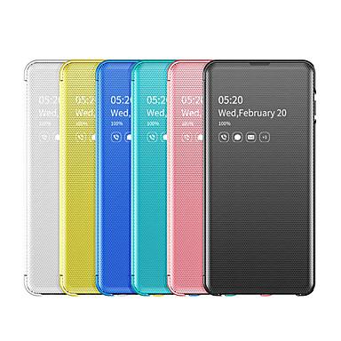 voordelige Galaxy S-serie hoesjes / covers-hoesje voor samsung galaxy s10 / 10plus / 10lite / 10e / 9/9 plus / 8/8 plus schokbestendig / stofdicht / spiegel full body hoesjes effen gekleurd pu leer / pc