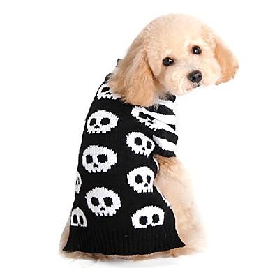رخيصةأون ملابس وإكسسوارات الكلاب-كلاب البلوزات الشتاء ملابس الكلاب أسود كوستيوم فصيل كورجي كلب صيد شبعا اينو الاكريليك وألياف جماجم كاجوال / يومي Halloween XXS XS S M L