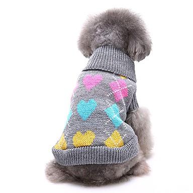 رخيصةأون ملابس وإكسسوارات الكلاب-كلاب البلوزات الشتاء ملابس الكلاب أسود رمادي كوستيوم فصيل كورجي كلب صيد شبعا اينو الاكريليك وألياف الحب كاجوال / يومي XS S M L XL XXL