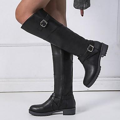 cheap Shoes & Bags-Women's Boots Knee High Boots Flat Heel Round Toe PU Knee High Boots Winter Black / Dark Brown / Green