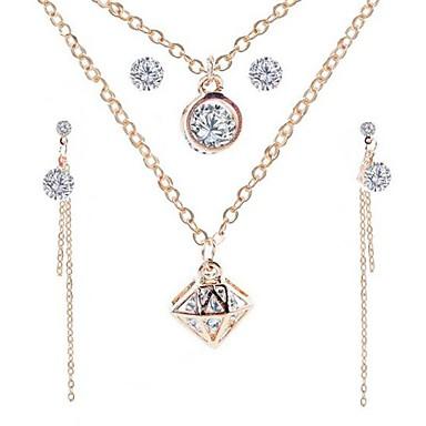 رخيصةأون أطقم المجوهرات-نسائي مكعب زركونيا عقد حلقات أنيق بسيط الأقراط مجوهرات ذهبي من أجل مناسب للبس اليومي 2