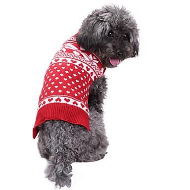 رخيصةأون ملابس وإكسسوارات الكلاب-كلاب البلوزات الشتاء ملابس الكلاب أحمر كوستيوم فصيل كورجي كلب صيد شبعا اينو الاكريليك وألياف ندفة ثلجية عيد الميلاد XXS XS S M