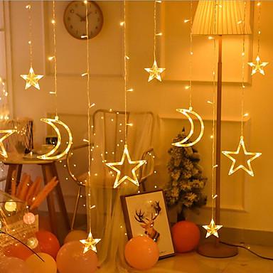 رخيصةأون تزيين المنزل-الصمام الأضواء الساطعة أضواء سلسلة أضواء الستار جليد احتفالي عيد الميلاد الزفاف الديكور أضواء أضواء نجمة أضواء الخماسية نجمة
