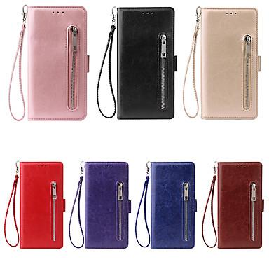 voordelige Galaxy Note-serie hoesjes / covers-hoesje Voor Samsung Galaxy Note 9 / Note 8 / Note 5 Kaarthouder Volledig hoesje Effen PU-nahka
