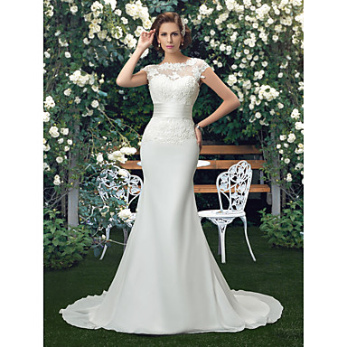cheap Weddings & Events-Mermaid / Trumpet Bateau Neck Chapel Train Lace / Tulle / Stretch Satin Made-To-Measure Wedding Dresses with Appliques by LAN TING Express