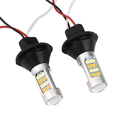 Недорогие Дневные фары-2шт 12v двухцветный светодиодный свет поворота автомобиля 1156 ba15s bau15s 7440 t20 42 smd автоматический сигнал лампы дневного света drl