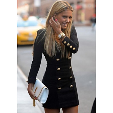 cheap Black Friday-Women's Sheath Dress - Solid Colored Black S M L XL