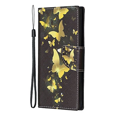 Недорогие Чехлы и кейсы для Galaxy Note-Кейс для Назначение SSamsung Galaxy Note 9 / Note 8 / Galaxy Note 10 Кошелек / Бумажник для карт / со стендом Чехол Бабочка Кожа PU