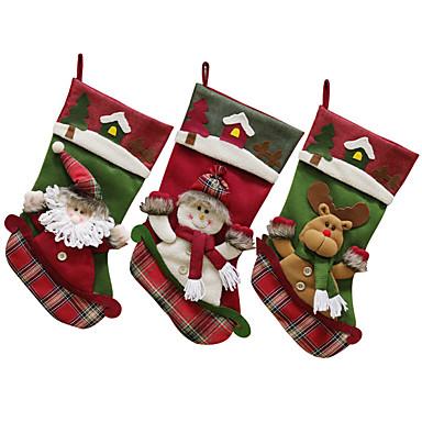 رخيصةأون تزيين المنزل-عيد الميلاد تخزين سانتا كلوز الخيش جورب عيد الميلاد هدية السنة الجديدة أكياس الحلوى