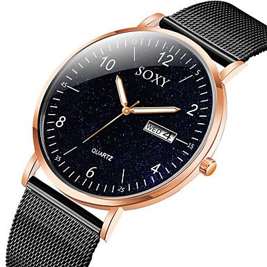 ieftine Ceasuri din Oțel Inoxidabil-Bărbați Ceas Elegant Quartz Stil Oficial Plasă Modă Calendar Analog Negru / Roz auriu Negru Argintiu / negru / Un an / Oțel inoxidabil / Oțel inoxidabil / Iluminat