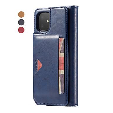 Недорогие Кейсы для iPhone 6-Кейс для Назначение Apple iPhone 11 / iPhone 11 Pro / iPhone 11 Pro Max Кошелек / Бумажник для карт / Флип Чехол Однотонный Кожа PU