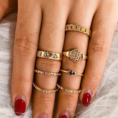 رخيصةأون مجموعة عصابة-نسائي خاتم مجموعة الطوق 7PCS ذهبي حجر الراين سبيكة غير منتظم كلاسيكي عتيق شائع هدية مناسب للبس اليومي مجوهرات فينتاج عيون