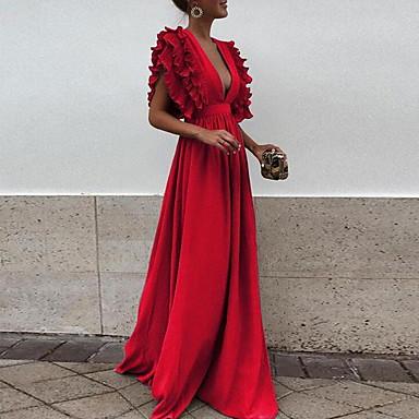 cheap Black Friday-Women's Elegant Swing Dress - Solid Colored Black Light Blue Red S M L XL