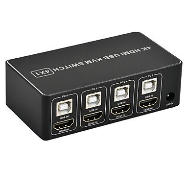 olcso HDMI-4 portos hdmi kvm kapcsoló 4k usb hdmi kvm kapcsoló 4 az 1-ben gyorsbillentyűvel 4kx2k / 30Hz Win10 / 8 / mac os. pc laptop
