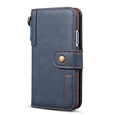 Недорогие Кейсы для iPhone 7 Plus-Кейс для Назначение Apple iPhone 11 / iPhone 11 Pro / iPhone 11 Pro Max Кошелек / Бумажник для карт / Защита от удара Чехол Однотонный Настоящая кожа