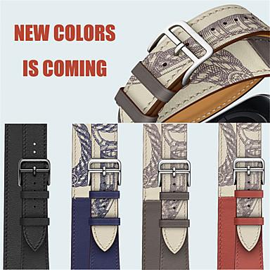 voordelige Smartwatch-accessoires-voor Apple Watch-serie 5/4/3/2/1/38 / 40mm 42 / 44mm pols armband lederen dubbele cirkel horlogeband