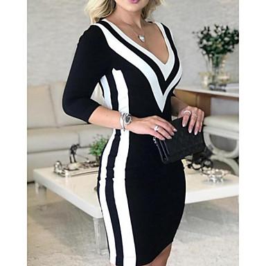cheap New Arrival-Women's Slim Bodycon Dress - Striped Color Block Deep V Black S M L XL