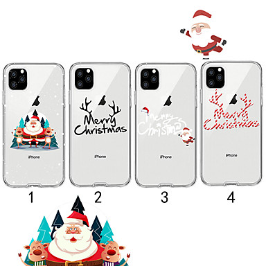 voordelige iPhone 5 hoesjes-hoesje Voor Apple iPhone 11 / iPhone 11 Pro / iPhone 11 Pro Max Transparant / Patroon Achterkant Kerstmis TPU